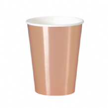 Metallic Rose Gold Party Cups - 12oz Foil Board Cups (8pcs)